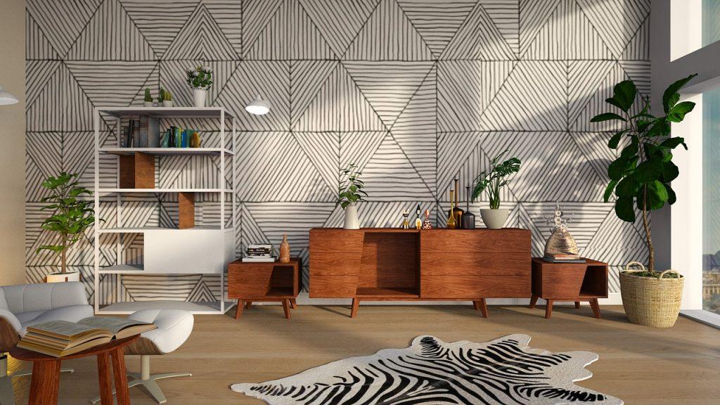 dywan z printem w zebrę